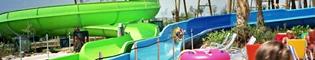 Barracudas: Baja a bordo de un flotador por estos divertidos toboganes caribeños en PortAventura Aquatic Park. Divertidos y veloces como las auténticas barracudas.